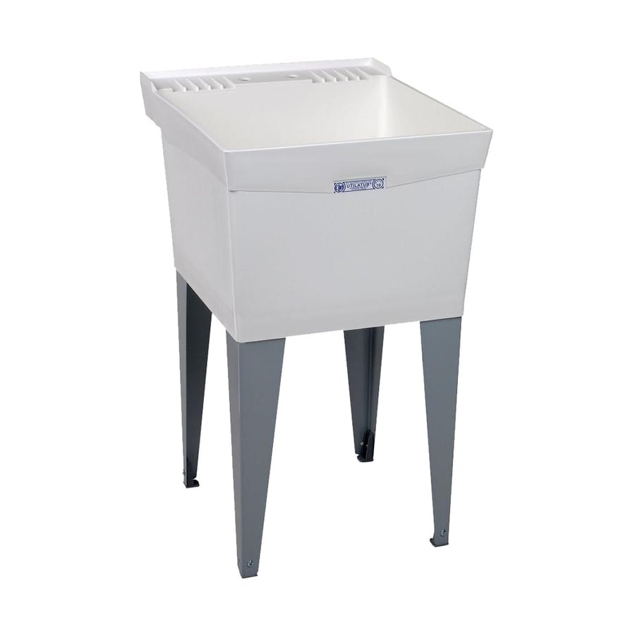 Laundry Tub Lowes : ... 24-in 1-Basin White Freestanding Composite Tub Utility Sink with Drain