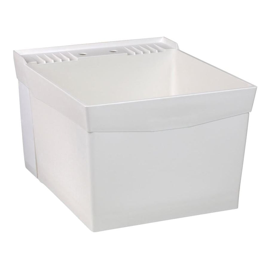 Composite Laundry Sink : ... 24-in 1-Basin White Wall Mount Composite Tub Utility Sink with Drain