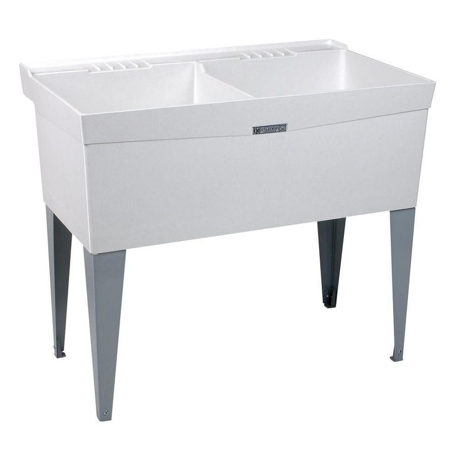 Composite Laundry Sink : ... 24-in 2-Basin White Freestanding Composite Tub Utility Sink with Drain