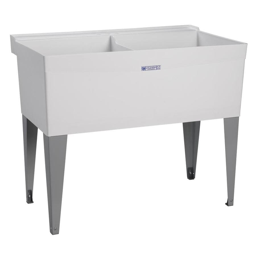... 24-in 2-Basin White Freestanding Polypropylene Utility Sink with Drain