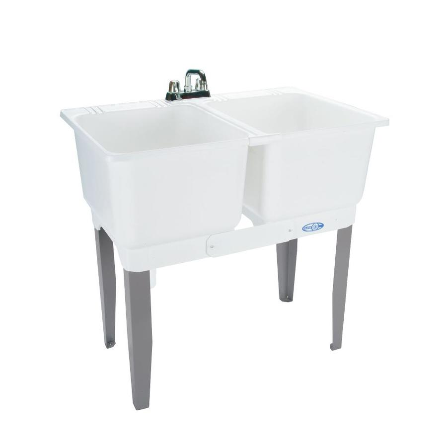 Mustee 36-in x 23.5-in 2-Basin White Freestanding Polypropylene Tub Utility Sink with Drain and Faucet