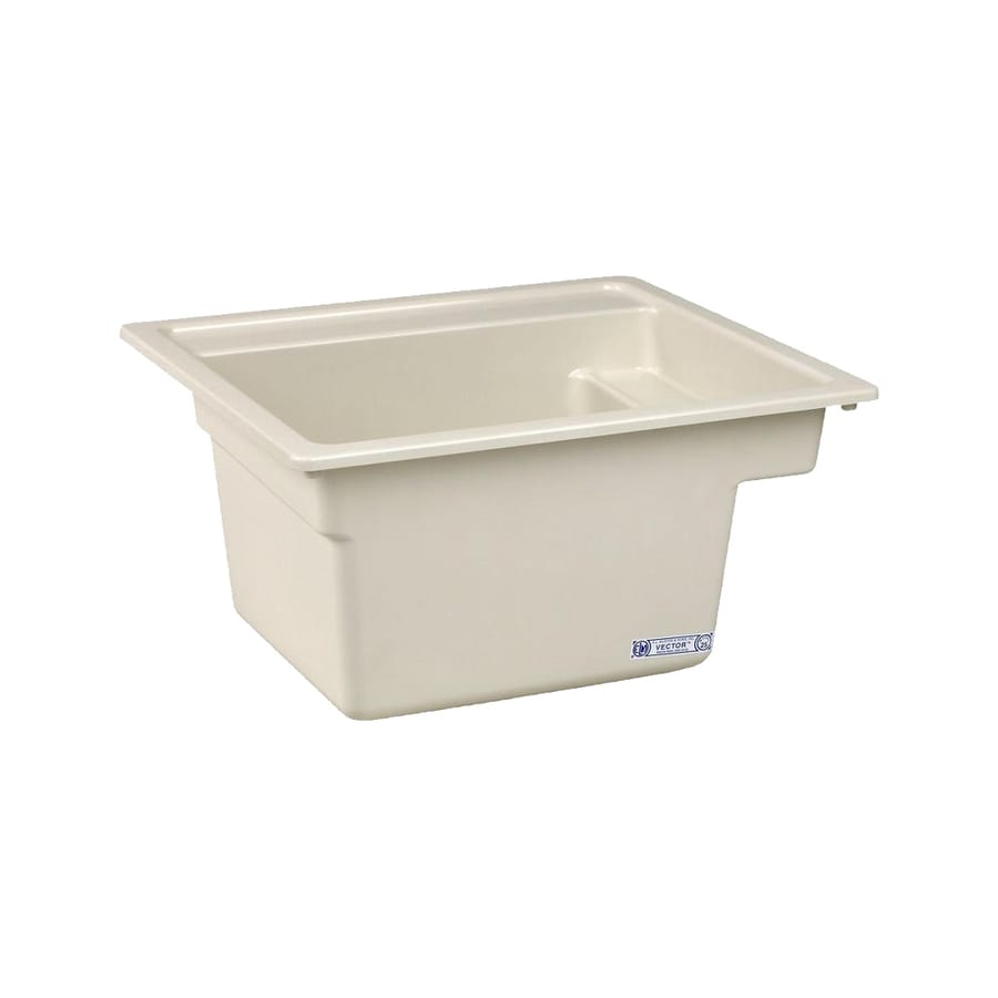 Composite Utility Sink : ... Basin Biscuit Self-Rimming Composite Laundry Utility Sink with Drain