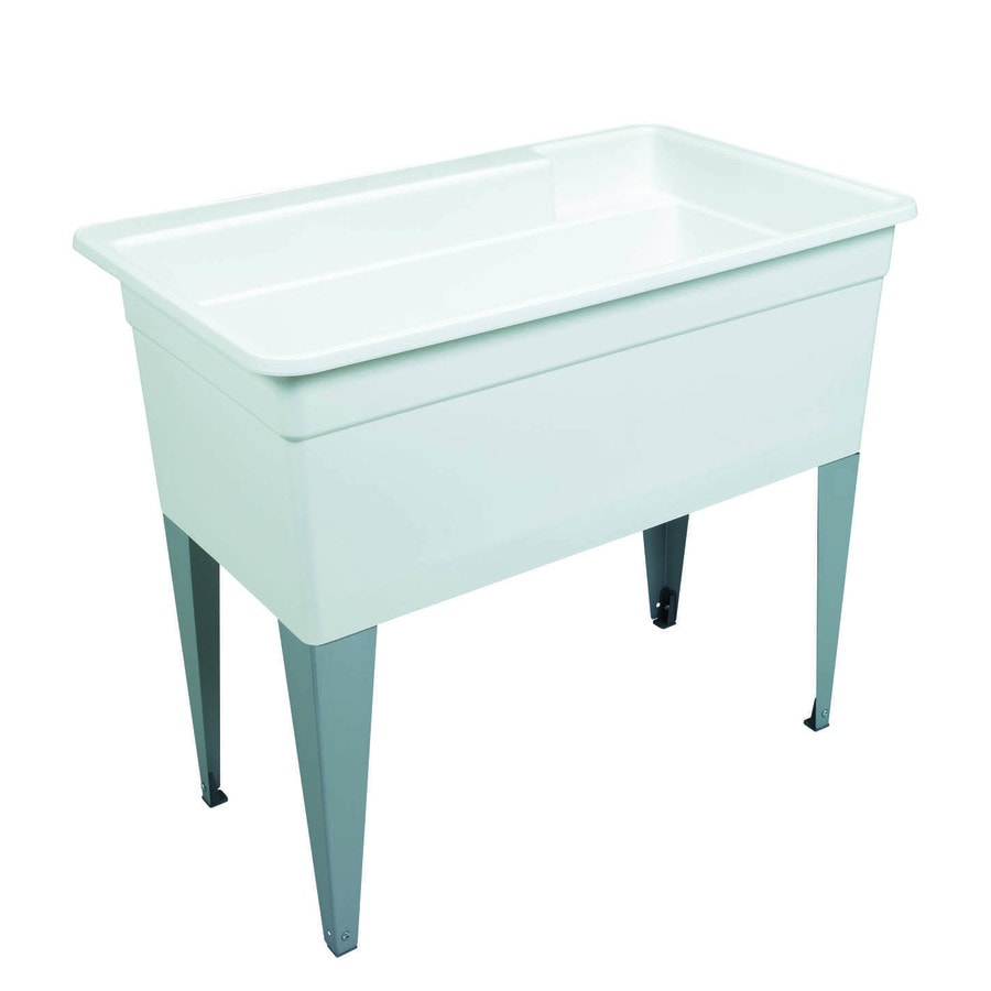 Shop Mustee 40 In X 24 In White Freestanding Polypropylene Utility Tub With Drain At Lowes Com