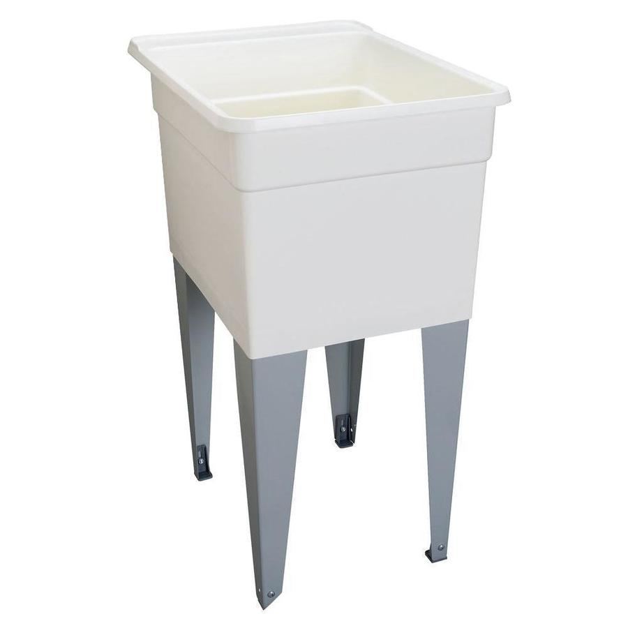 Mustee 18-in x 24-in 1-Basin White Freestanding Polypropylene Tub Utility Sink with Drain