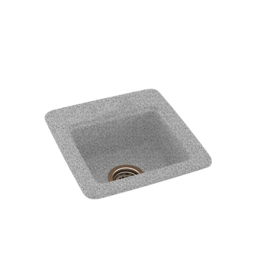 Swanstone Gray Granite Single-Basin 1-Hole Composite Drop-in or Undermount Residential Bar Sink