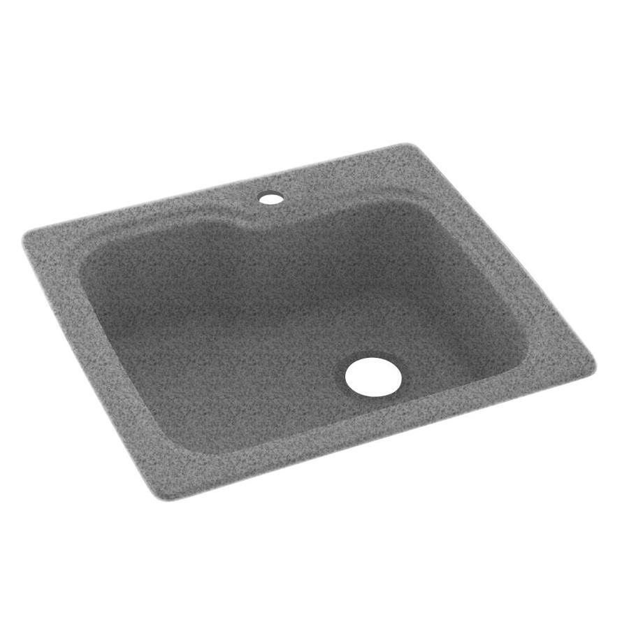 Swanstone 22-in x 25-in Gray Granite Single-Basin Composite Drop-in or Undermount 1-Hole Residential Kitchen Sink