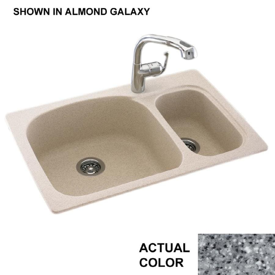 Swanstone 22-in x 33-in Gray Granite Double-Basin Composite Drop-in or Undermount 1-Hole Residential Kitchen Sink