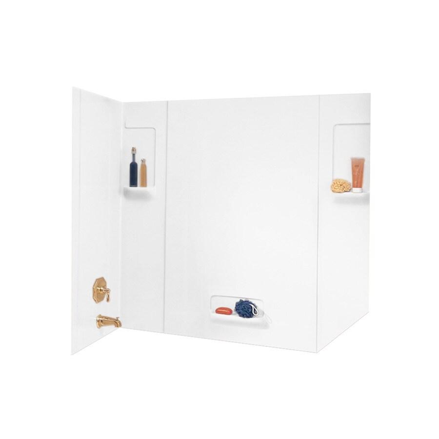 Swanstone White Fiberglass and Plastic Composite Bathtub Wall Surround (Common: 32-in x 62-in; Actual: 58-in x 32-in x 62-in)