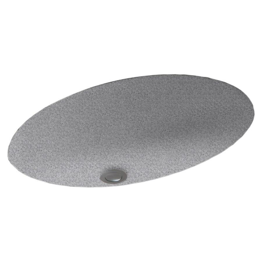 Swanstone Gray Granite Composite Undermount Oval Bathroom Sink with Overflow