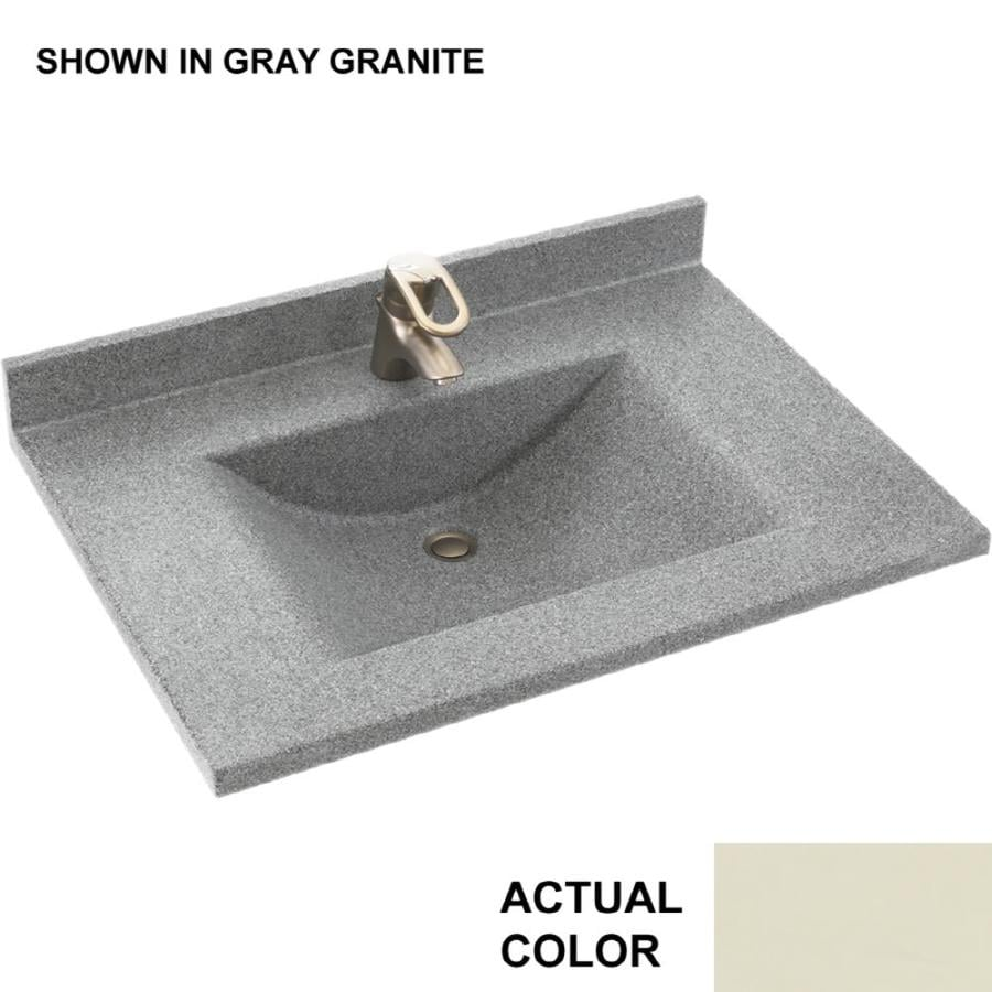 Swanstone Contour Bone Solid Surface Integral Single Sink Bathroom Vanity Top (Common: 25-in x 22-in; Actual: 25-in x 22-in)