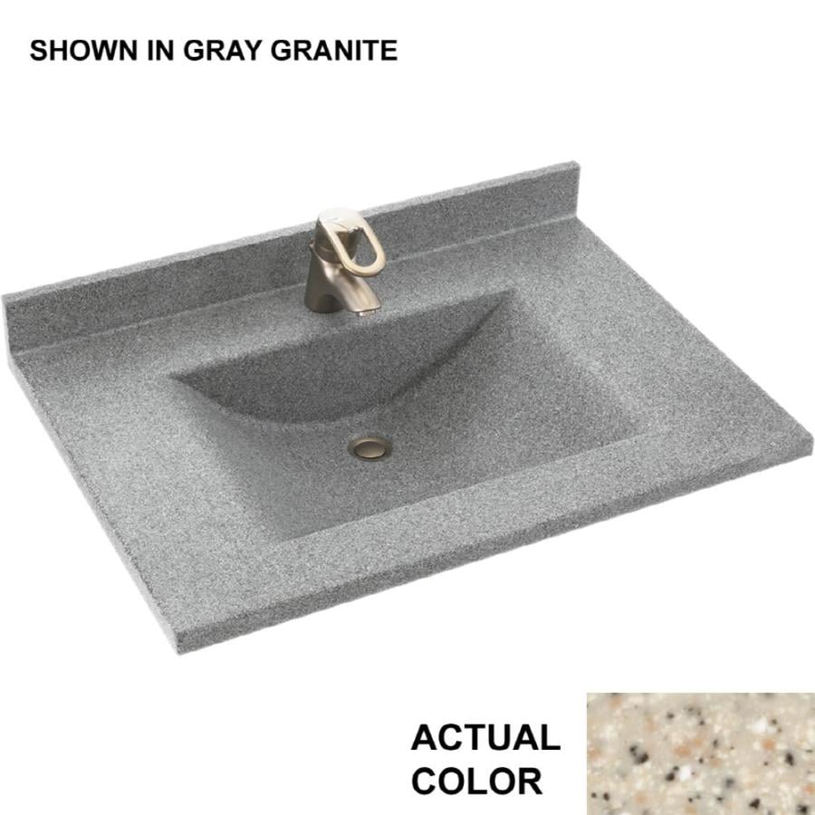 Swanstone Contour Bermuda Sand Solid Surface Integral Single Sink Bathroom Vanity Top (Common: 25-in x 22-in; Actual: 25-in x 22-in)