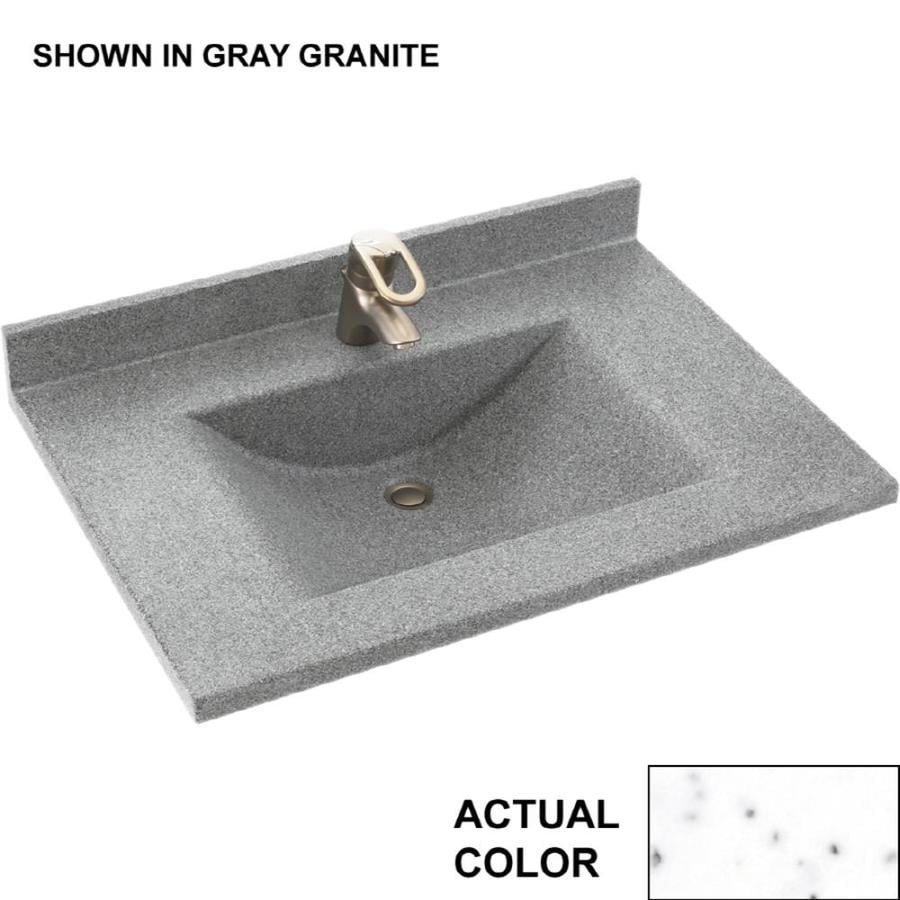 Swanstone Contour Arctic Granite Solid Surface Integral Single Sink Bathroom Vanity Top (Common: 31-in x 22-in; Actual: 31-in x 22-in)