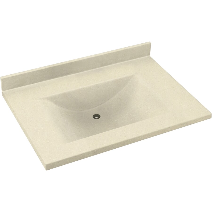 Swanstone Contour Bone Solid Surface Integral Single Sink Bathroom Vanity Top (Common: 37-in x 22-in; Actual: 37-in x 22-in)