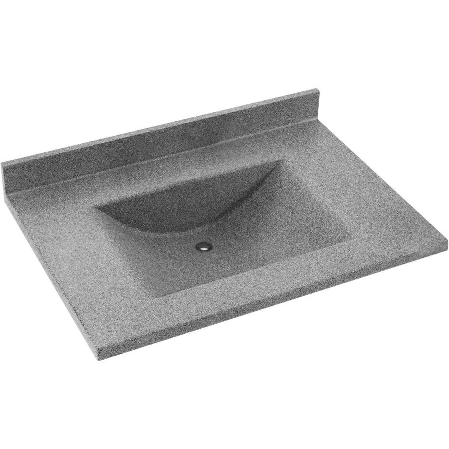 Swanstone Contour Gray Granite Solid Surface Integral Single Sink Bathroom Vanity Top (Common: 37-in x 22-in; Actual: 37-in x 22-in)