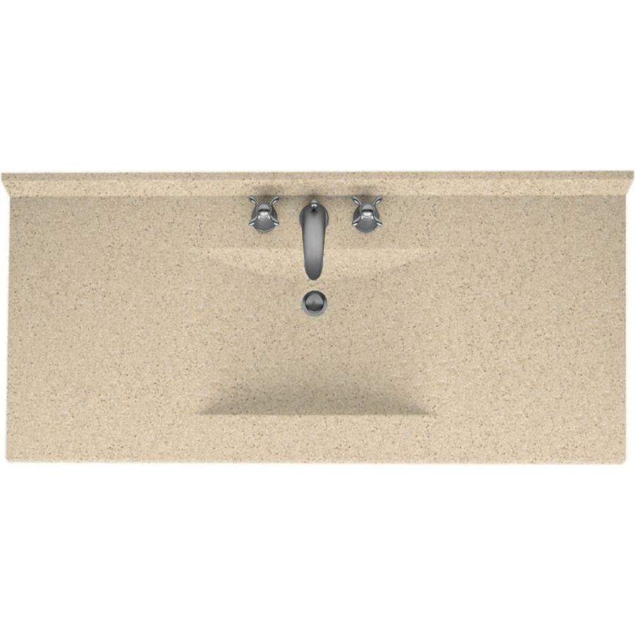 Swanstone Contour Bermuda Sand Solid Surface Integral Single Sink Bathroom Vanity Top (Common: 49-in x 22-in; Actual: 49-in x 22-in)