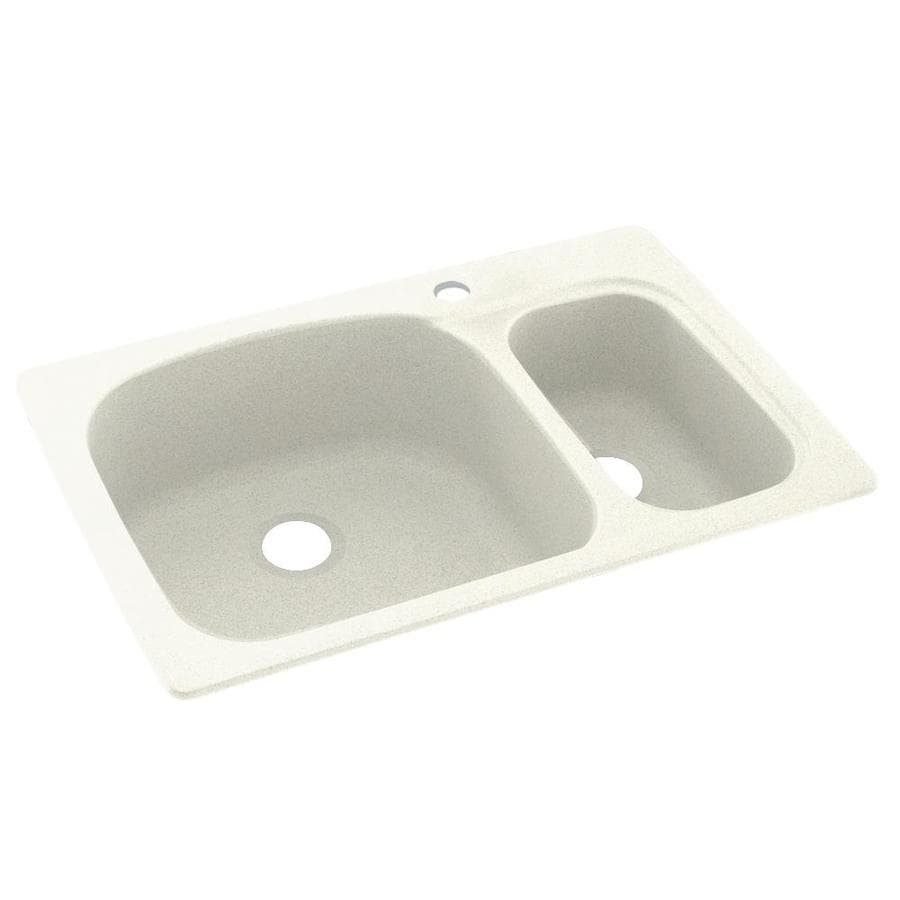 Swanstone 22-in x 33-in Bisque Double-Basin Composite Drop-in or Undermount 1-Hole Residential Kitchen Sink