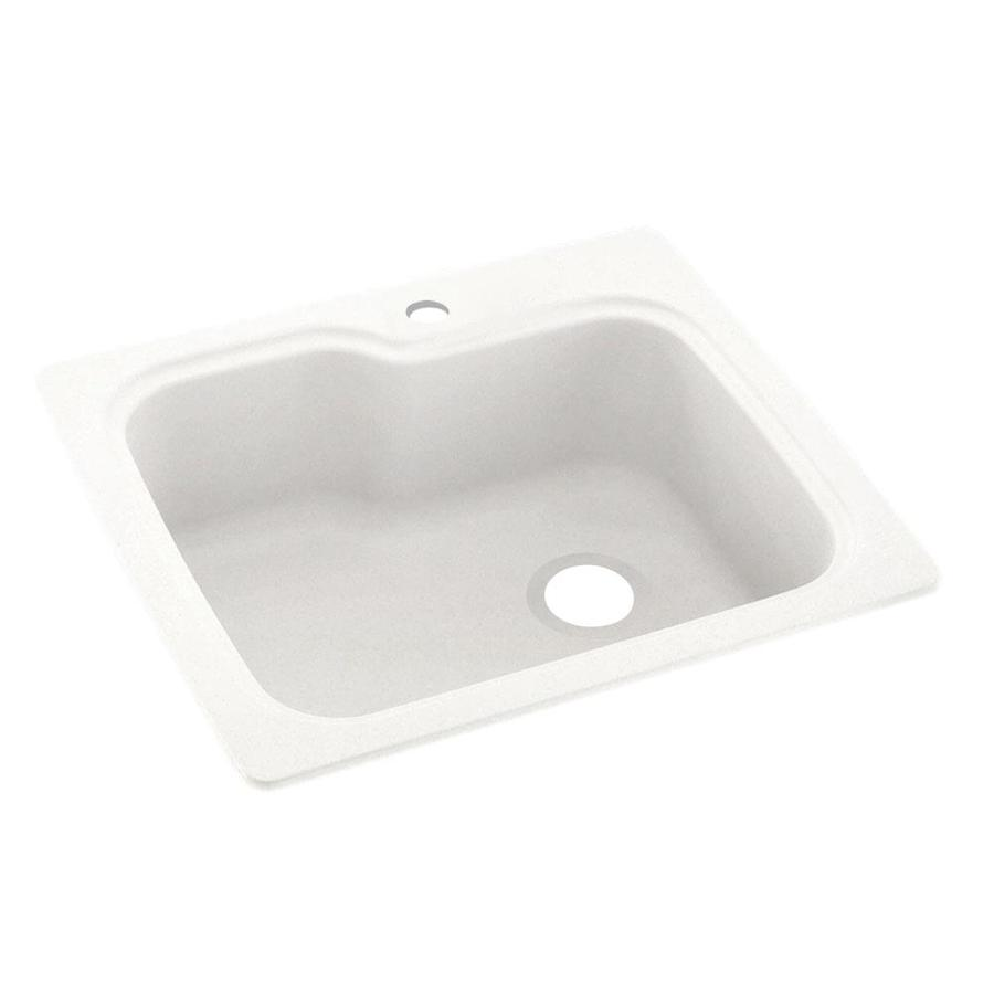 Swanstone 22-in x 25-in Tahiti Ivory Single-Basin Composite Drop-in or Undermount 1-Hole Residential Kitchen Sink