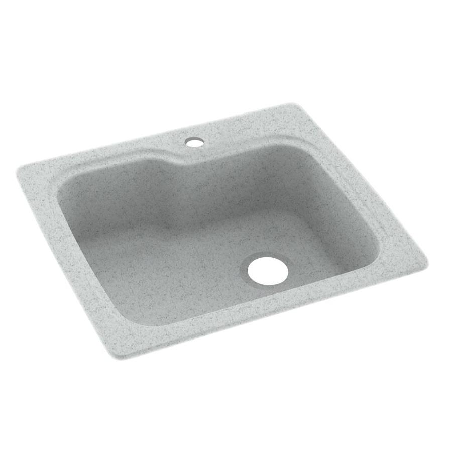 Swanstone 22-in x 25-in Tahiti Gray Single-Basin Composite Drop-in or Undermount 1-Hole Residential Kitchen Sink
