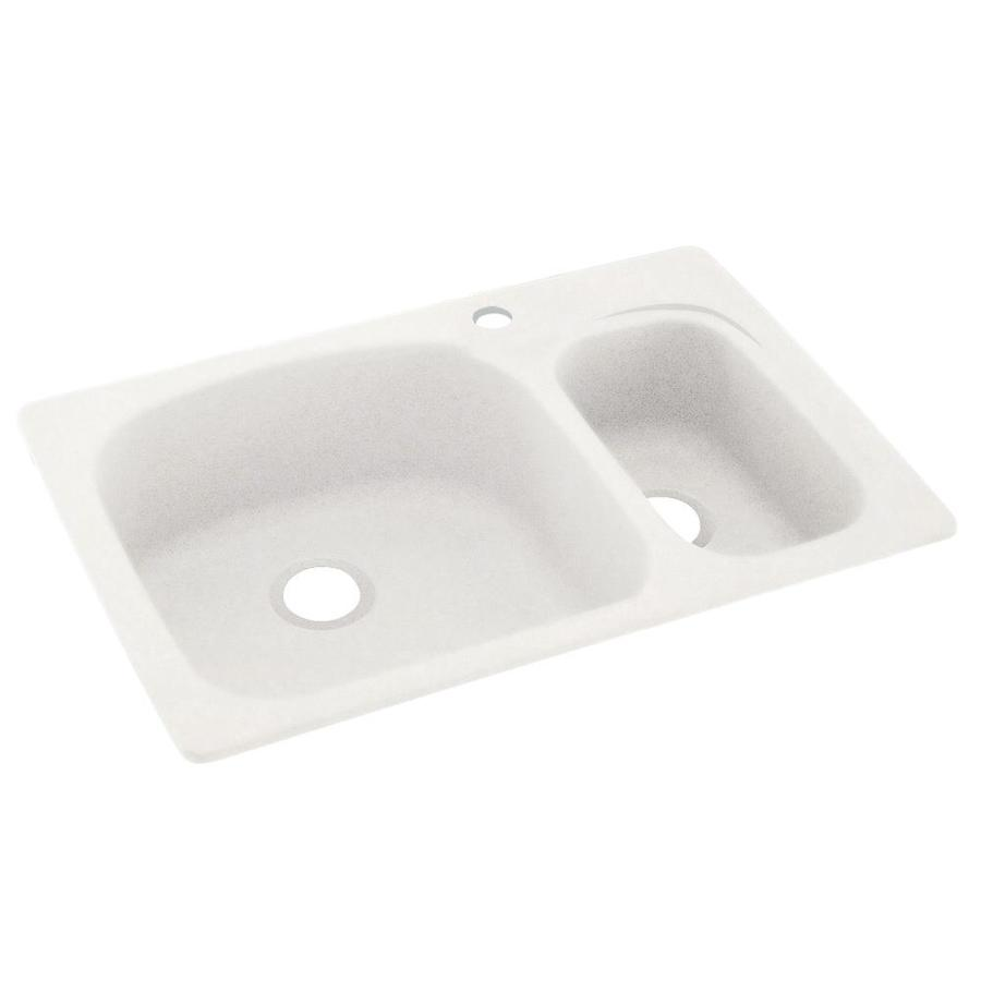 Swanstone 22-in x 33-in Tahiti Ivory Double-Basin Composite Drop-in or Undermount 1-Hole Residential Kitchen Sink