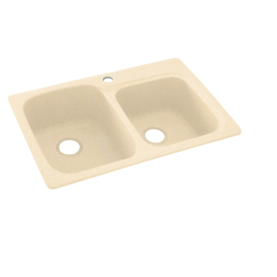 Swanstone 22-in x 33-in Tahiti Terra Double-Basin Composite Drop-In or Undermount 1-Hole Residential Kitchen Sink