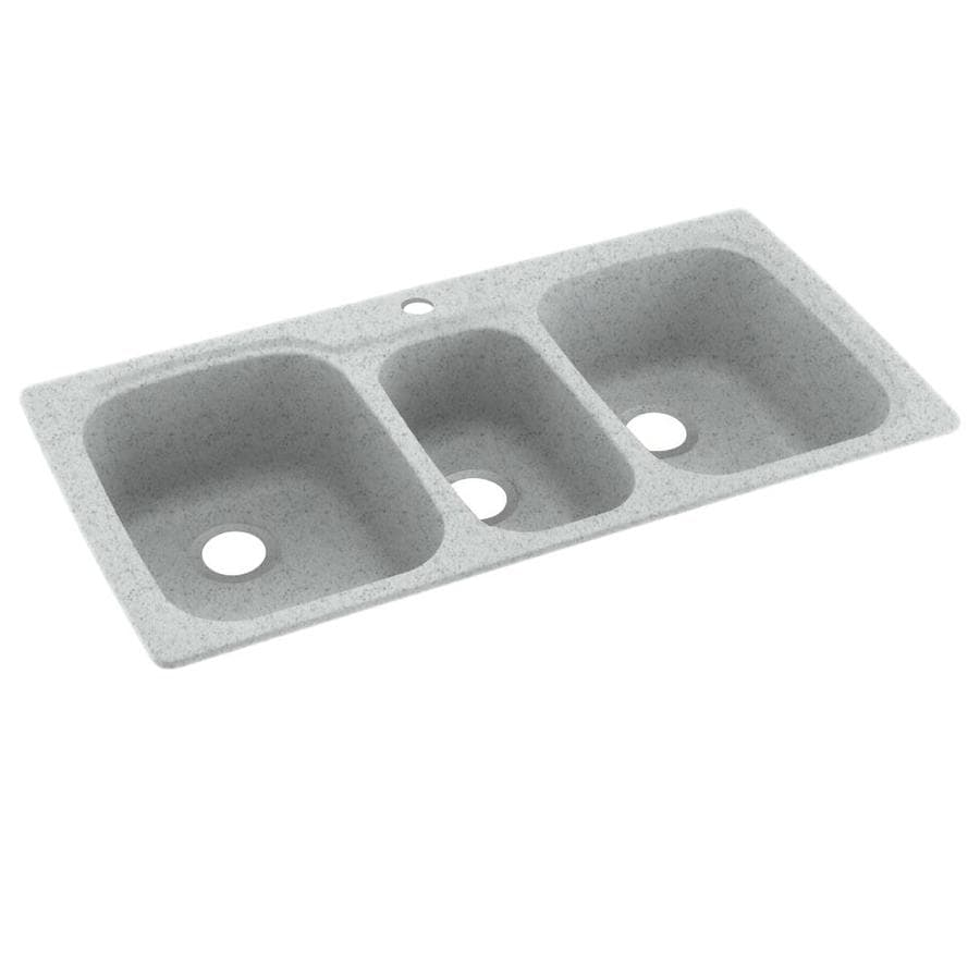 Swanstone 22-in x 44-in Tahiti Gray Triple-Basin Composite Drop-in or Undermount 1-Hole Residential Kitchen Sink