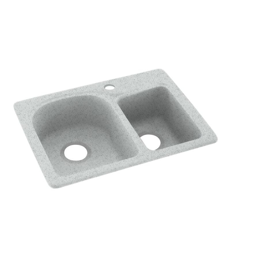 Swanstone 18-in x 25-in Tahiti Gray Double-Basin Composite Drop-in or Undermount 1-Hole Residential Kitchen Sink
