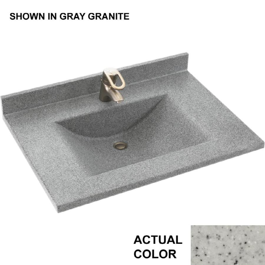 Swanstone Contour Tahiti Gray Solid Surface Integral Single Sink Bathroom Vanity Top (Common: 25-in x 22-in; Actual: 25-in x 22-in)