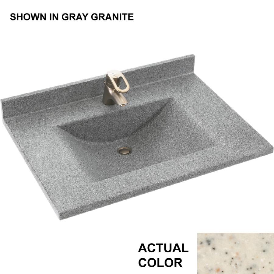 Swanstone Contour Tahiti Desert Solid Surface Integral Single Sink Bathroom Vanity Top (Common: 25-in x 22-in; Actual: 25-in x 22-in)