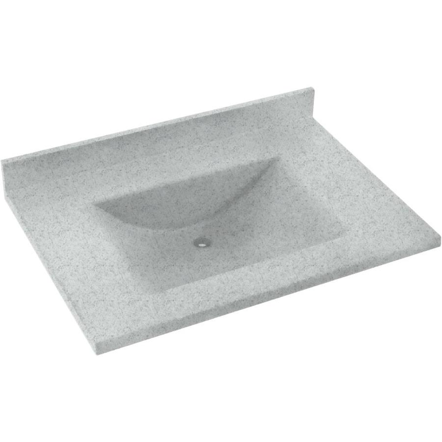 Swanstone Contour Tahiti Gray Solid Surface Integral Single Sink Bathroom Vanity Top (Common: 37-in x 22-in; Actual: 37-in x 22-in)