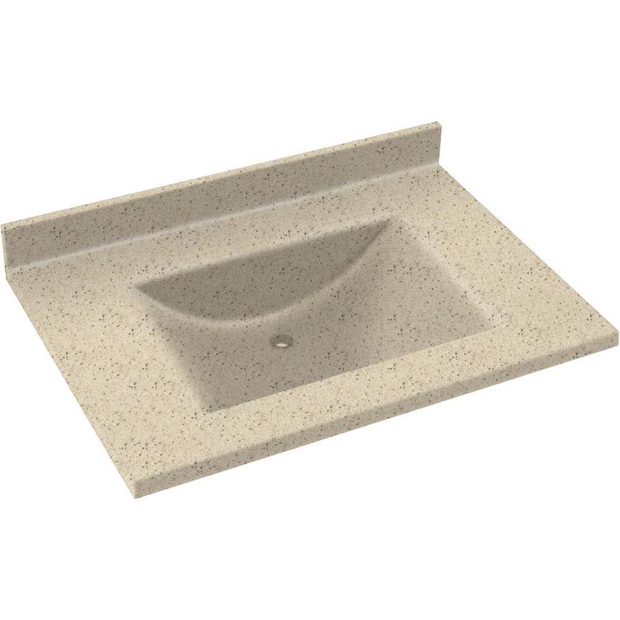 Swanstone Contour Tahiti Desert Solid Surface Integral Single Sink Bathroom Vanity Top (Common: 37-in x 22-in; Actual: 37-in x 22-in)