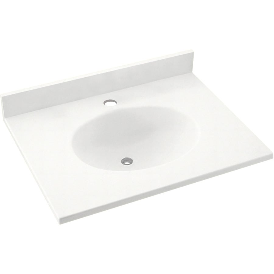 Shop Swanstone Ellipse Solid Surface Bathroom Vanity Top Common 25 In X 19 In Actual 25 In X