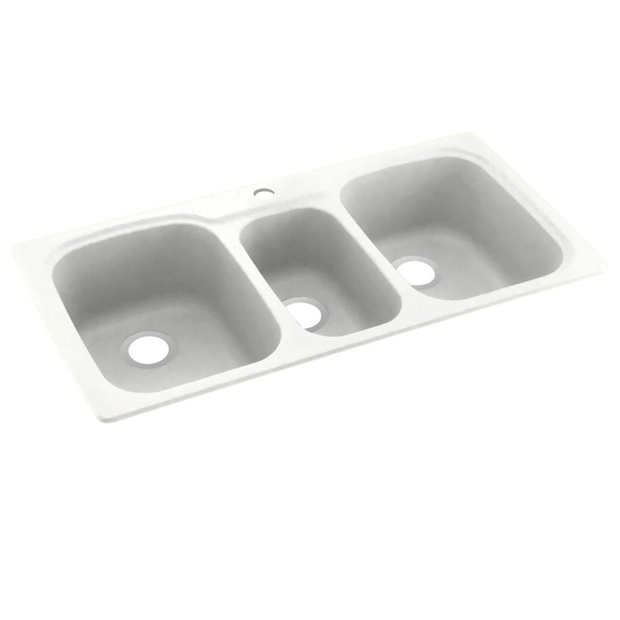 Swanstone 22-in x 44-in Tahiti White Triple-Basin Composite Drop-in or Undermount 1-Hole Residential Kitchen Sink