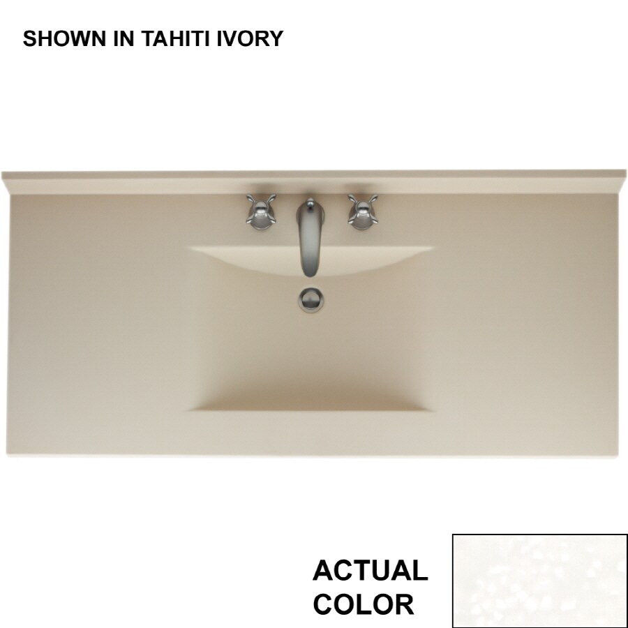 Swanstone Contour Tahiti White Solid Surface Integral Single Sink Bathroom Vanity Top (Common: 49-in x 22-in; Actual: 49-in x 22-in)