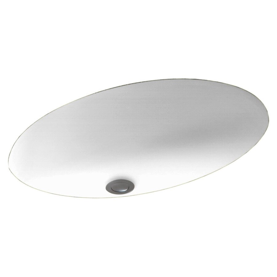 Swanstone White Composite Undermount Oval Bathroom Sink with Overflow