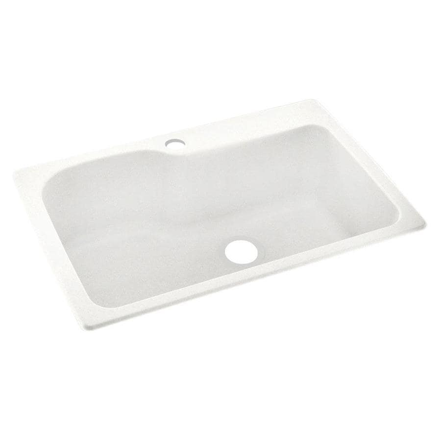 Swanstone 22-in x 33-in Tahiti Ivory Single-Basin Composite Drop-in or Undermount 1-Hole Residential Kitchen Sink