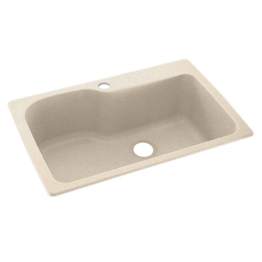 Swanstone 22-in x 33-in Tahiti Sand Single-Basin Composite Drop-in or Undermount 1-Hole Residential Kitchen Sink