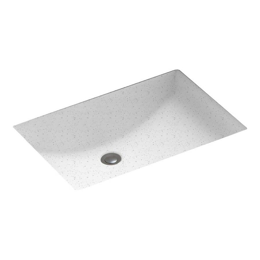 Swanstone Arctic Granite Composite Undermount Rectangular Bathroom Sink with Overflow