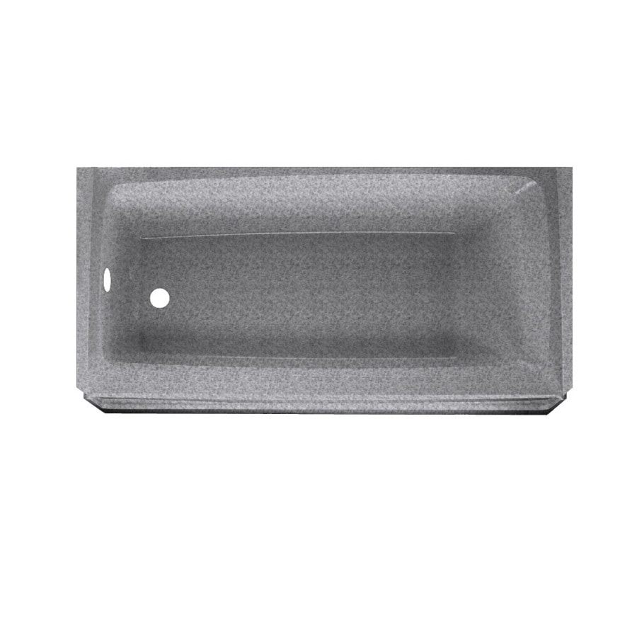 Swanstone Veritek Gray Granite Fiberglass and Plastic Composite Rectangular Skirted Bathtub with Left-Hand Drain (Common: 30-in x 60-in; Actual: 16-in x 30-in x 60-in)