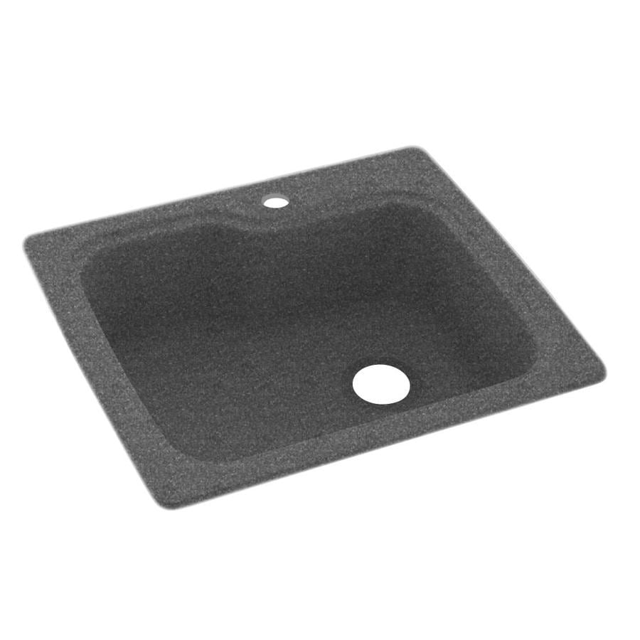 Swanstone 22-in x 25-in Night Sky Single-Basin Composite Drop-in or Undermount 1-Hole Residential Kitchen Sink