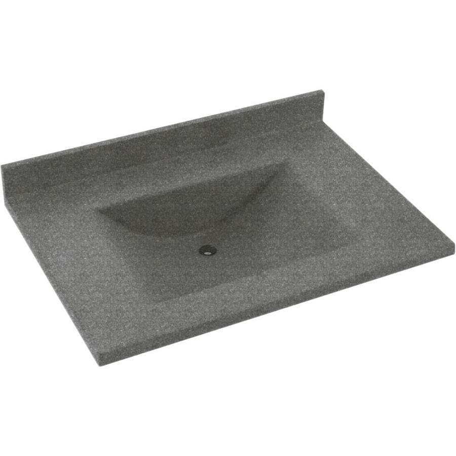 Swanstone Contour Night Sky Solid Surface Integral Single Sink Bathroom Vanity Top (Common: 37-in x 22-in; Actual: 37-in x 22-in)