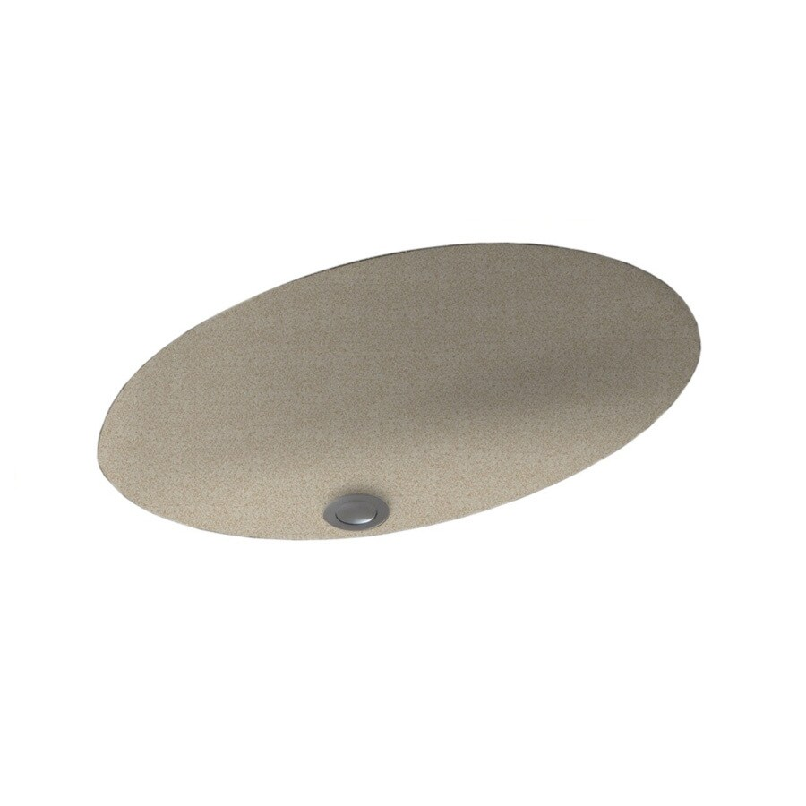 Swanstone Winter Wheat Composite Undermount Oval Bathroom Sink with Overflow