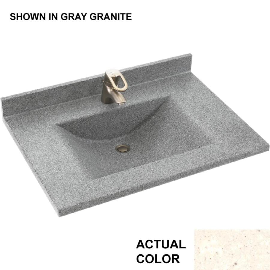 Swanstone Contour Pebble Solid Surface Integral Single Sink Bathroom Vanity Top (Common: 31-in x 22-in; Actual: 31-in x 22-in)