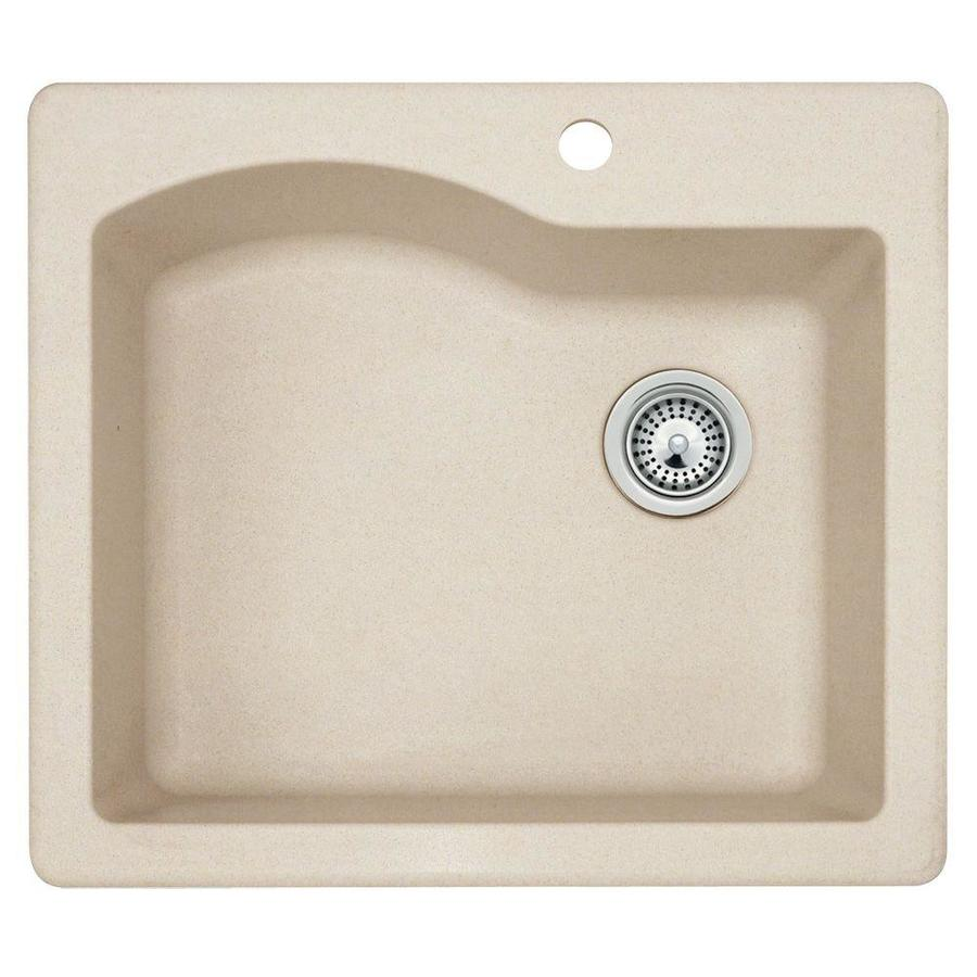 SWAN 22-in x 25-in Granito Single-Basin Granite Drop-in or Undermount 1-Hole Residential Kitchen Sink
