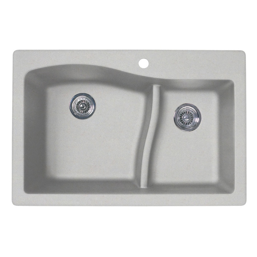 SWAN 22-in x 33-in Granito Double-Basin Granite Drop-in or Undermount 1-Hole Residential Kitchen Sink