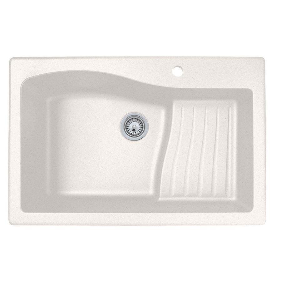 SWAN 22-in x 33-in Bianca Single-Basin Granite Drop-in or Undermount 1-Hole Residential Kitchen Sink Drainboard Included