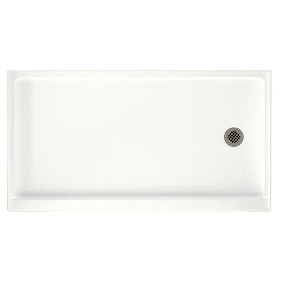 Swanstone Tahiti White Solid Surface Shower Base (Common: 32-in W x 60-in L; Actual: 32-in W x 60-in L)