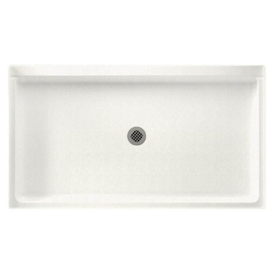 Swanstone Tahiti Ivory Solid Surface Shower Base (Common: 32-in W x 60-in L; Actual: 32-in W x 60-in L)