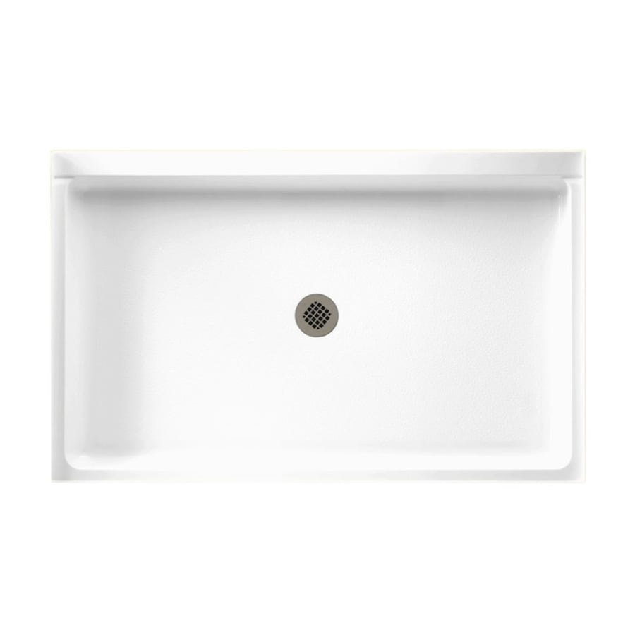 Swanstone White Solid Surface Shower Base (Common: 34-in W x 54-in L; Actual: 34-in W x 54-in L)