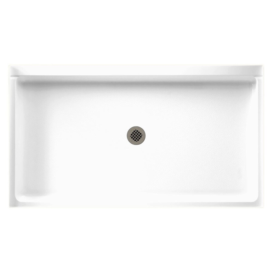 Swanstone White Solid Surface Shower Base (Common: 34-in W x 60-in L; Actual: 34-in W x 60-in L)