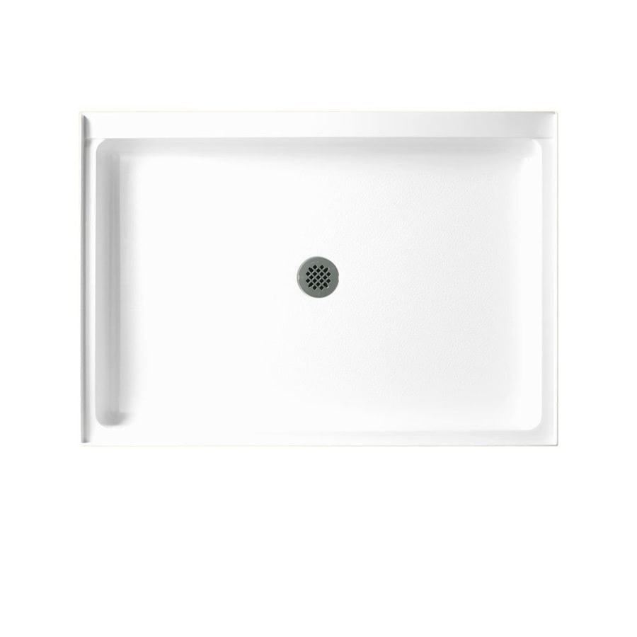 Swanstone White Fiberglass and Plastic Composite Shower Base (Common: 42-in W x 34-in L; Actual: 34-in W x 42-in L)